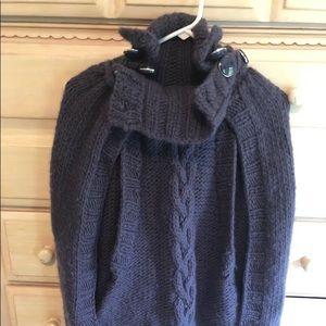 NAVY blue Anthropologie 100% wool cape
